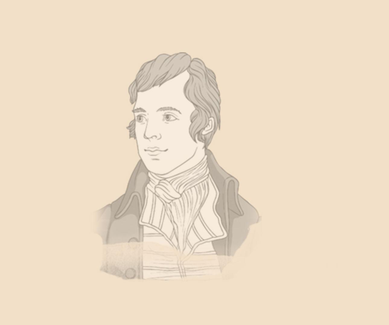 Robert Burns drawn portrait on paper faded