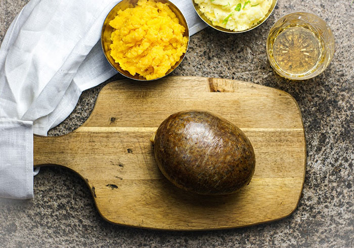 Traditional Scottish haggis with neeps, tatties and whisky